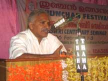 K.C. Narayanan delivering the chairman's speech on Session on 'Edasseri's Prose.'